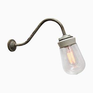 Weiße Wandlampe aus Porzellan, Opalglas, Gusseisen & Glas, 1950er