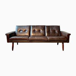 Sofá Mid-Century de cuero marrón de Svend Skipper para Skippers Furniture