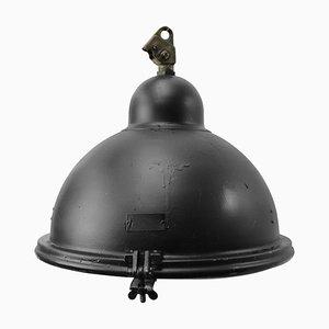 Lampe à Suspension en Aluminium Noir et Fonte, années 50