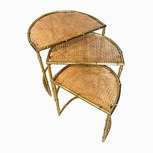 Tables Gigognes en Laiton et Faux Bambou de Maison Baguès, France, années 60, Set de 3