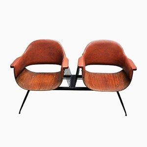 Italienische Vintage 2-Sitzer Bank mit Gestell aus Holz & Eisen & Bezug aus Kunstleder von Carlo Ratti, 1950er