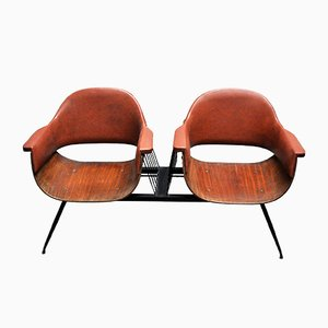 Vintage Italian Wood, Iron & Leatherette 2-Seater Bench by Carlo Ratti, 1950s