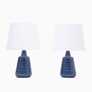 Lámparas de mesa modelo 1019 Mid-Century de gres azul de Einar Johansen para Søholm. Juego de 2
