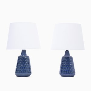 Mid-Century Model 1019 Blue Stoneware Table Lamps by Einar Johansen for Søholm, Set of 2
