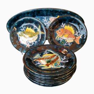 Service mit Fisch-Motiven von Emile Rocher, 1970er