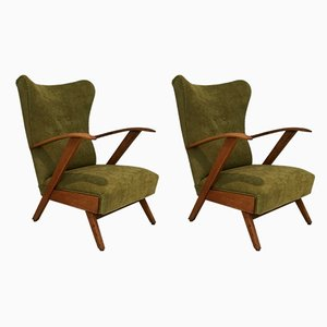 Mid-Century Wingback Lounge Chairs, Set of 2