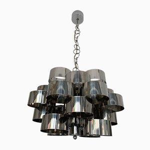 Lámpara de araña italiana vintage de metal cromado de Targetti, años 70