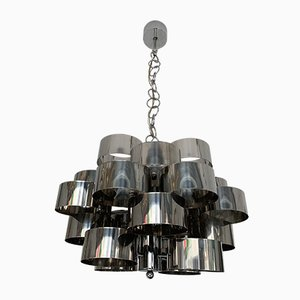 Vintage Italian Chromed Metal Chandelier from Targetti, 1970s