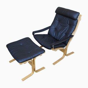 Norwegischer Sessel & Fußhocker von Ingmar Relling für Westnofa, 1970er