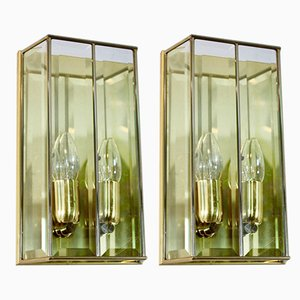French Brass & Faceted Glass Sconces, 1980s, Set of 2