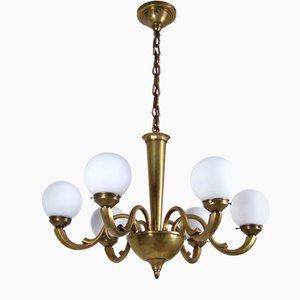 Lámpara de araña antigua de latón, década de 1900