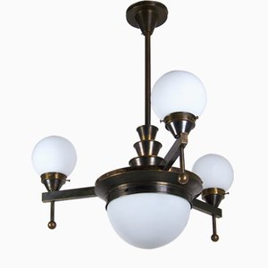 Lámpara de araña Art Déco de latón, años 20