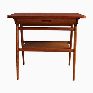 Mid-Century Danish Teak & Oak Side Table, 1950s