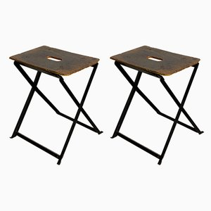 Industrial Folding Stools with Wooden Seats, 1930s, Set of 2