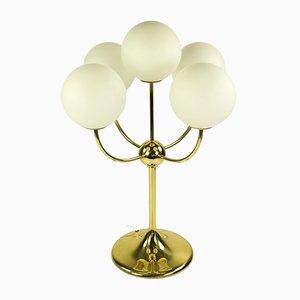 Mid-Century Tischleuchte mit Gestell aus Messing & Glaskugeln über den 5 Leuchtmitteln von Temde