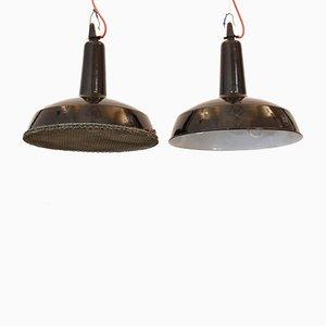 Industrielle Vintage Philuma 45 Deckenlampen von Philips, 1940er, 2er Set