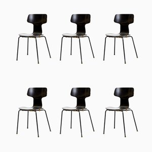 Model 3103 Hammer Chairs by Arne Jacobsen for Fritz Hansen, 1970s, Set of 6
