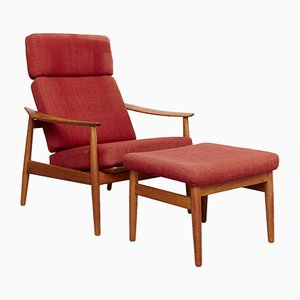 Model FD164 Teak Armchair and Ottoman by Arne Vodder for France & Søn/France & Daverkosen, 1970s, Set of 2