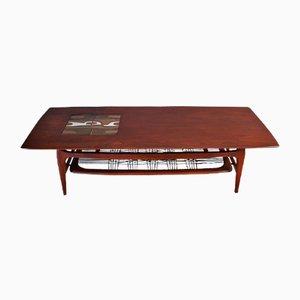 Table Basse en Teck & Carreaux en Céramique par Louis van Teeffelen & Jaap Ravelli pour WéBé, années 50