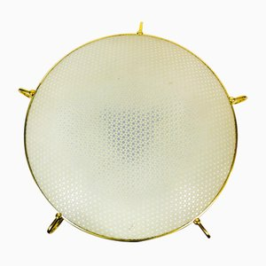 German Brass and Plastic Ceiling Lamp from Erco, 1960s