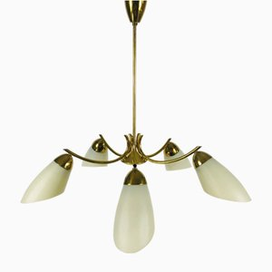 Sputnik Opaline Glass Chandelier, 1950s