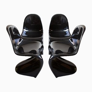 Black Panton Chairs by Verner Panton for Vitra, 1980s, Set of 4