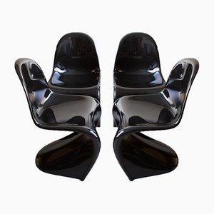 Sillas Panton negras de Verner Panton para Vitra, años 80. Juego de 4