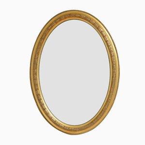 Espejo de pared victoriano antiguo de madera dorada