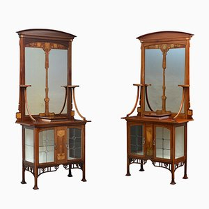 Antique Art Nouveau Cabinets, Set of 2