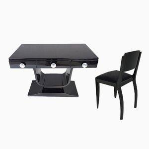 Juego de escritorio y silla francés Art Déco, años 20