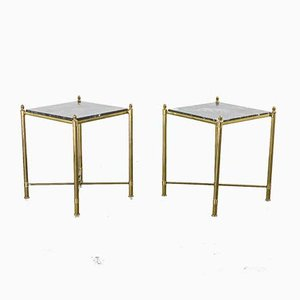 Brass and Black Marble Side Tables, 1930s, Set of 2