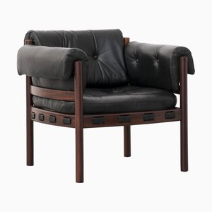Vintage Leather & Rosewood Armchair by Arne Norell for Coja, 1960s
