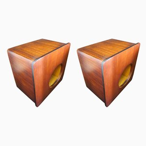 Mid-Century Italian Rosewood Wall Bar Cabinets, Set of 2