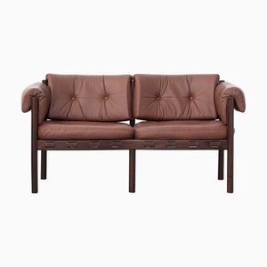 Vintage Leather & Rosewood Model 925 Sofa by Arne Norell for Coja, 1960s