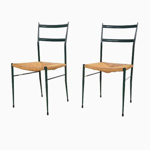 Italian Model Leggera Green Metal and Rattan Side Chairs by Gio Ponti, 1960s, Set of 2