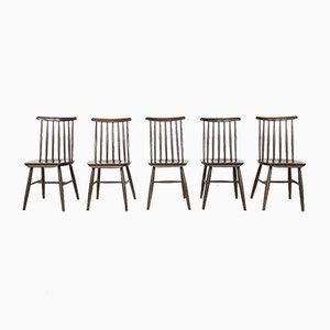 Mid-Century Esszimmerstühle mit Spindellehne von Ilmari Tapiovaara für Pastoe, 5er Set