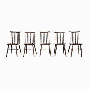 Mid-Century Spindle Back Dining Chairs by Ilmari Tapiovaara for Pastoe, Set of 5