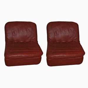 Mid-Century Leather Modular Lounge Chairs, 1970s, Set of 2