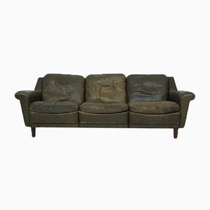 Sofá de cuero verde, años 50
