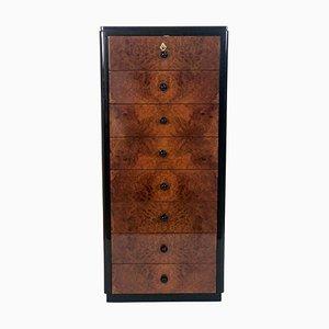 Cassettiera alta Thuja vintage impiallacciata e laccata nera, anni '20