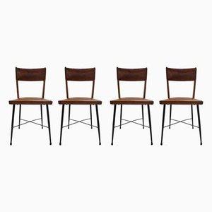 Chaises de Salon en Cuir et Métal, années 50, Set de 4