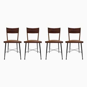 Leather and Metal Dining Chairs, 1950s, Set of 4