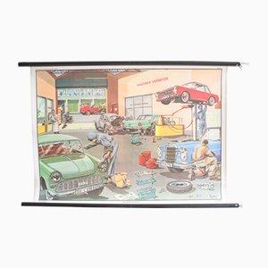 Póster educativo de taller de coches alemán, años 60