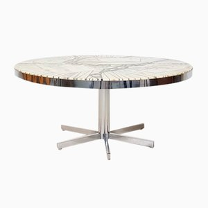 Tavolino da caffè rotondo con mosaico in marmo di Carara di Heinz Lilienthal, Germania, anni '70