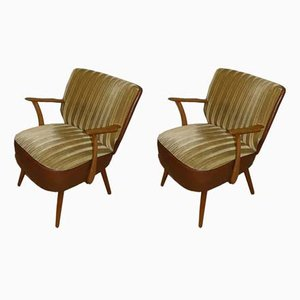 Mid-Century Skai & Fabric Cocktail Chairs, Set of 2