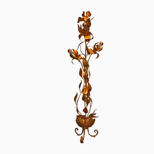 Vintage Gold-Plated Tole Floral Floor Lamp, 1970s
