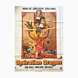 Póster de la película Operation Dragon francés vintage, años 70