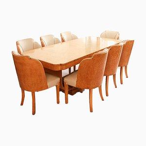 Tavolo da pranzo Art Déco con otto sedie di Harry & Lou Epstein, anni '30