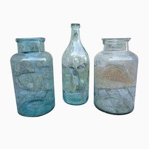 Pots Vintage Industriels en Verre, années 20, Set de 3