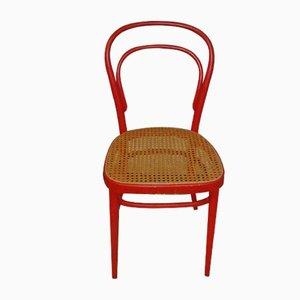 Silla de bistró nº 14 vintage de caña tejida de Thonet, años 60